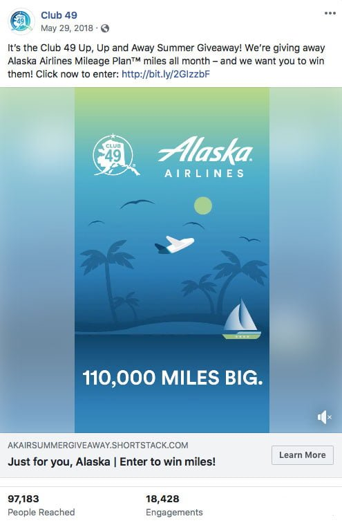 Alaska Airlines Facebook posting screenshot