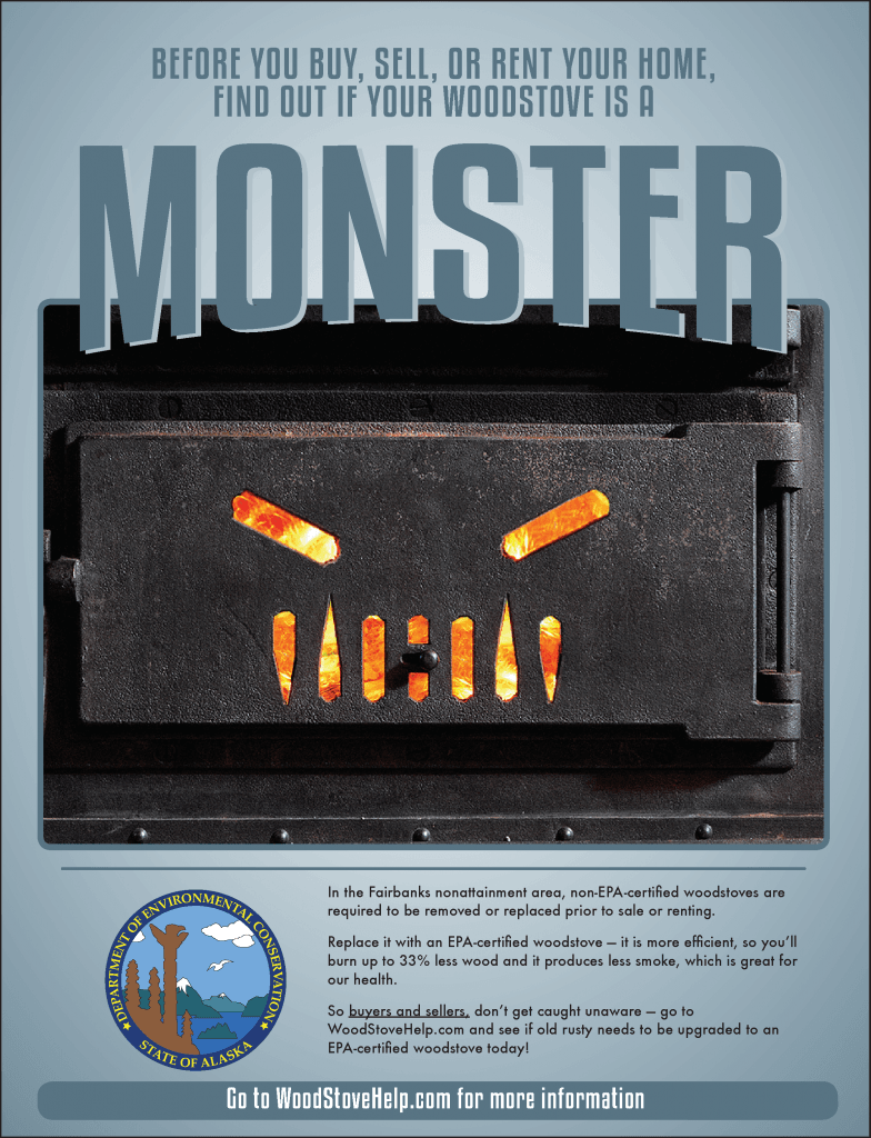 DAQ Woodstove monster print ad